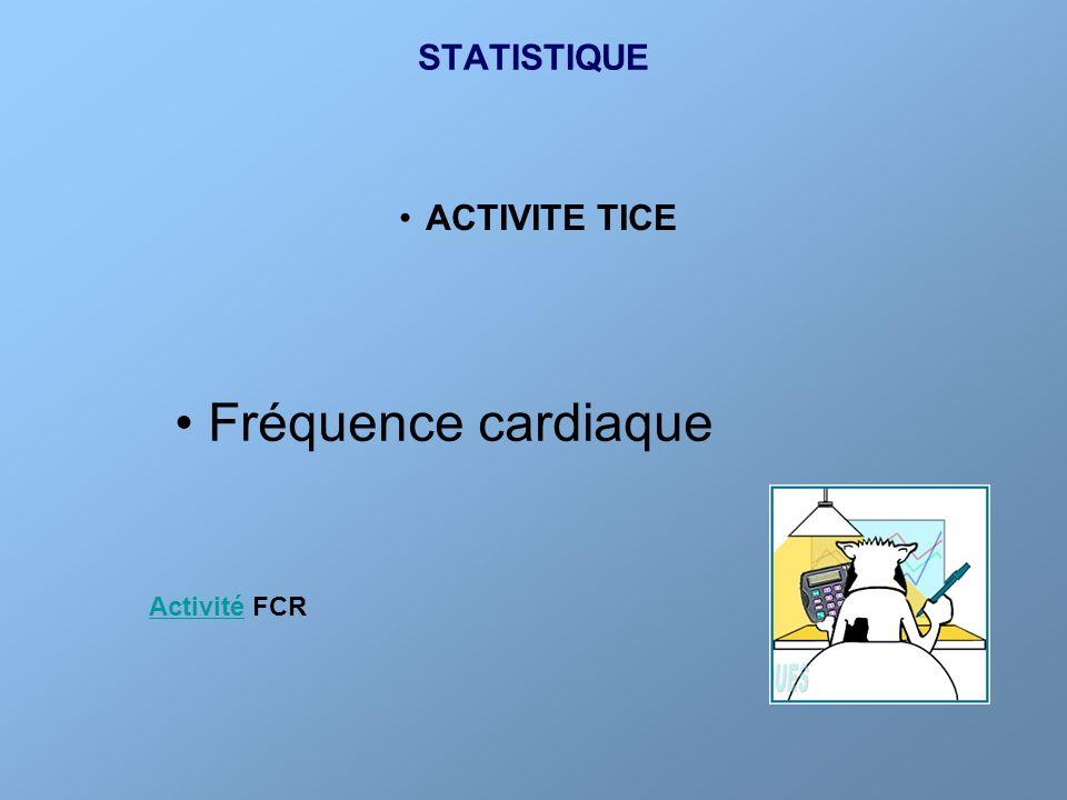 STATISTIQUE ACTIVITE TICE Fréquence cardiaque Activité FCR