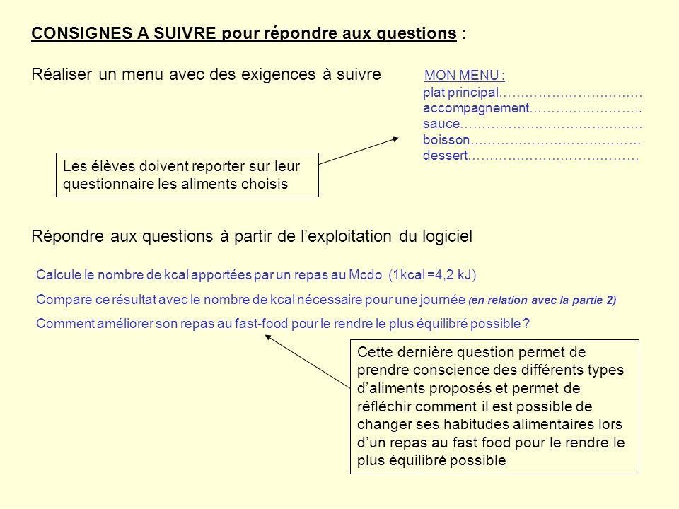 CONSIGNES A SUIVRE pour répondre aux questions :