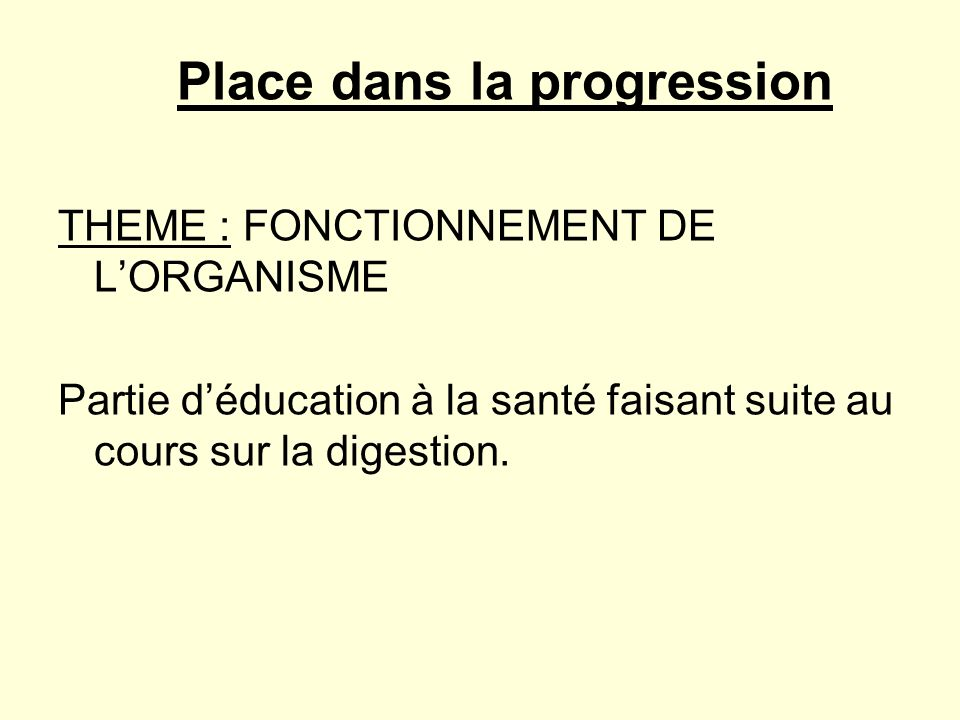 Place dans la progression