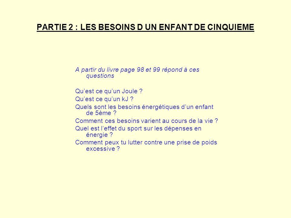 PARTIE 2 : LES BESOINS D UN ENFANT DE CINQUIEME