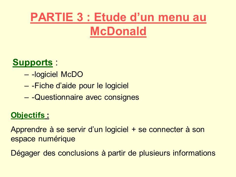 PARTIE 3 : Etude d'un menu au McDonald