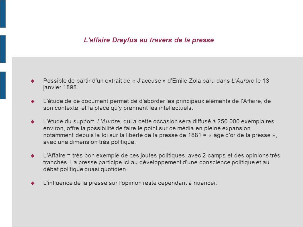 L affaire Dreyfus au travers de la presse