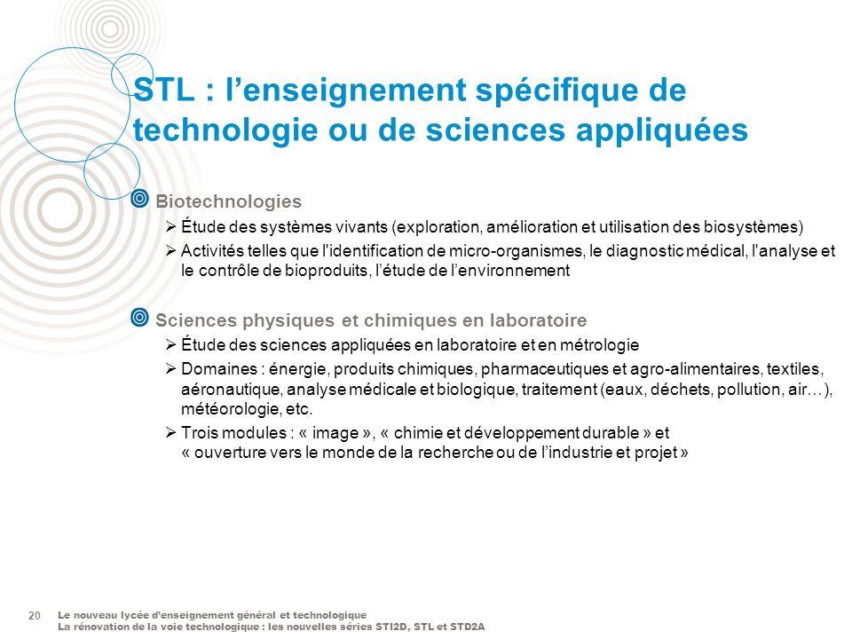 STL : l'enseignement spécifique de technologie ou de sciences appliquées
