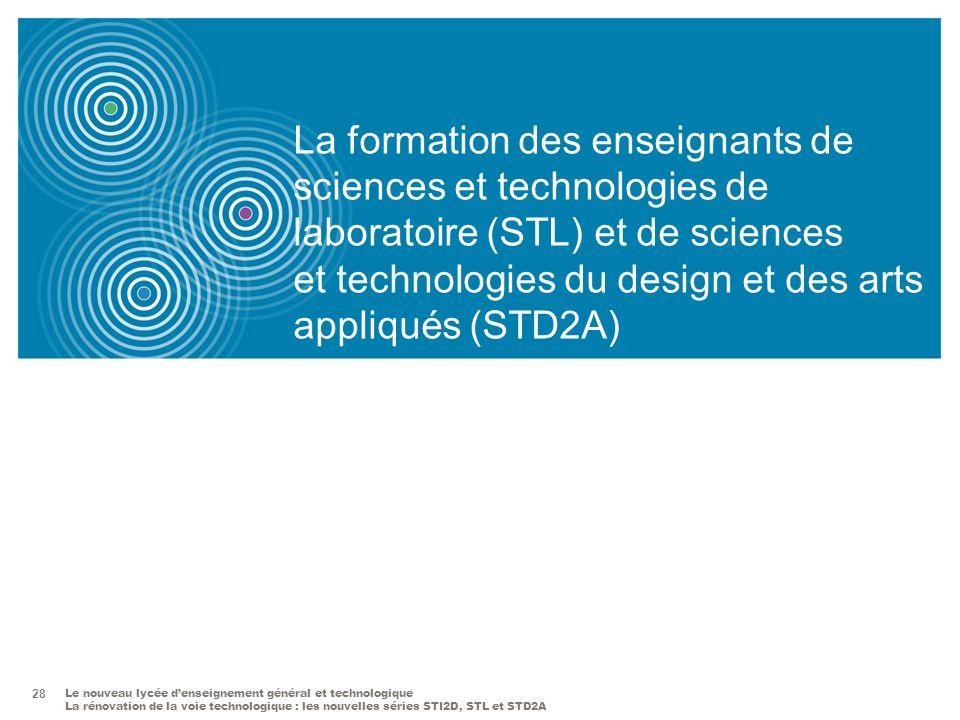 La formation des enseignants de sciences et technologies de laboratoire (STL) et de sciences et technologies du design et des arts appliqués (STD2A)