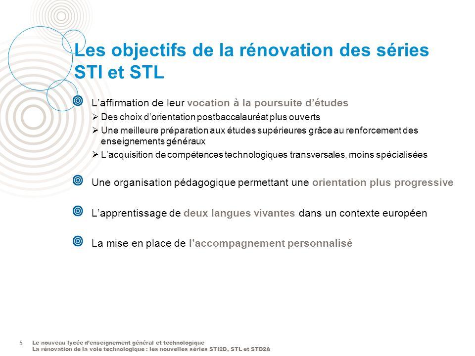 Les objectifs de la rénovation des séries STI et STL