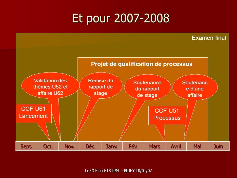 Et pour 2007-2008 Examen final Projet de qualification de processus