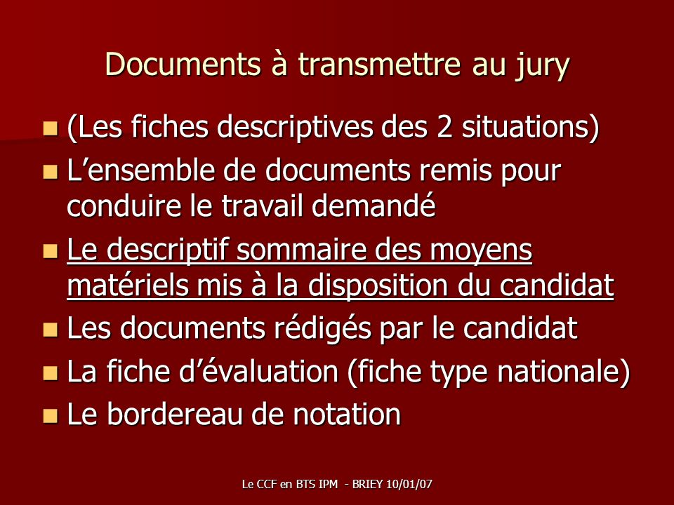 Documents à transmettre au jury
