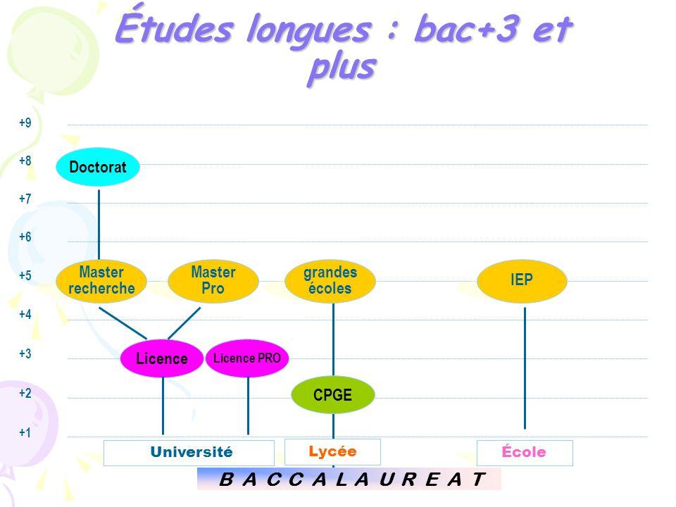 Études longues : bac+3 et plus