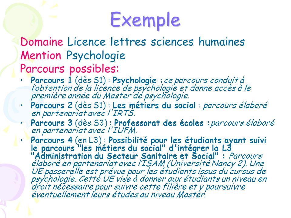 Exemple Domaine Licence lettres sciences humaines Mention Psychologie