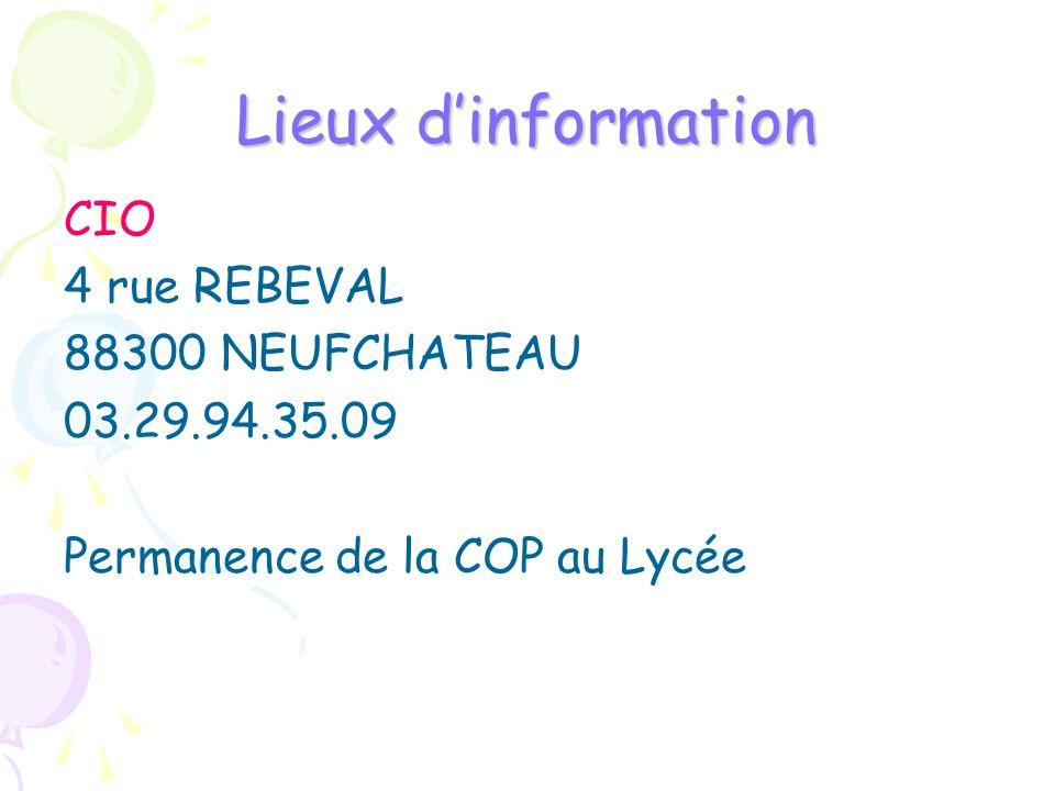 Lieux d'information CIO 4 rue REBEVAL 88300 NEUFCHATEAU 03.29.94.35.09