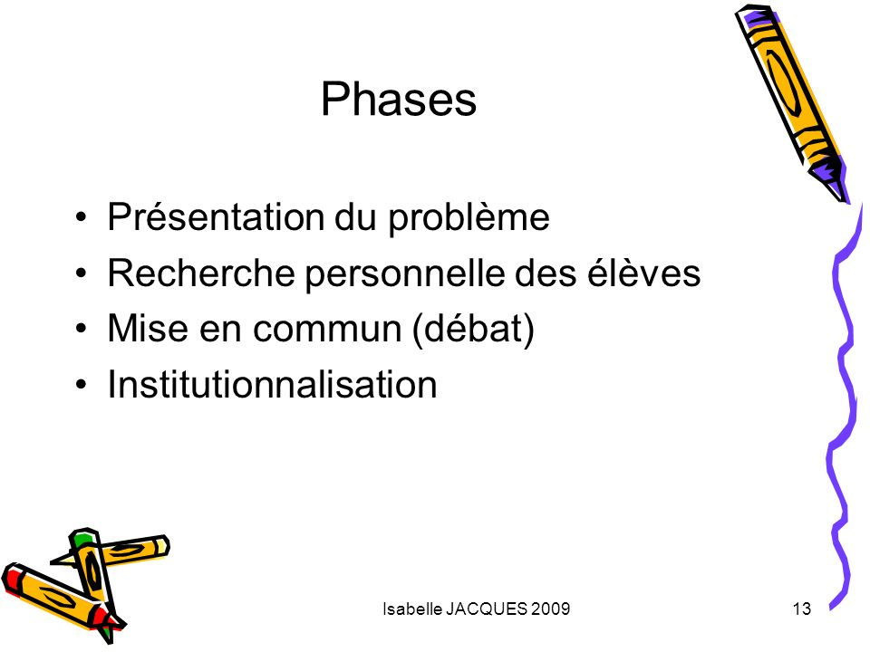 Phases Présentation du problème Recherche personnelle des élèves