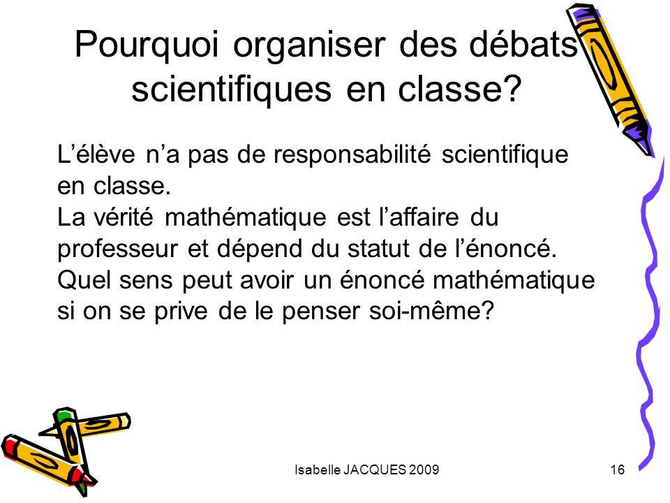 Pourquoi organiser des débats scientifiques en classe