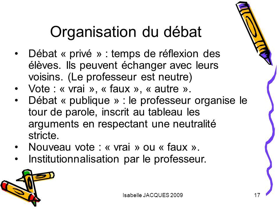 Organisation du débat Débat « privé » : temps de réflexion des élèves. Ils peuvent échanger avec leurs voisins. (Le professeur est neutre)