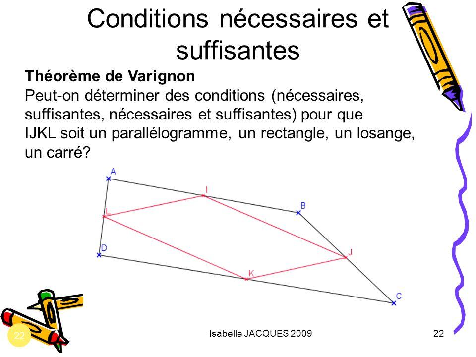 Conditions nécessaires et suffisantes