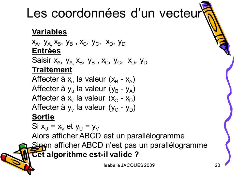 Les coordonnées d'un vecteur