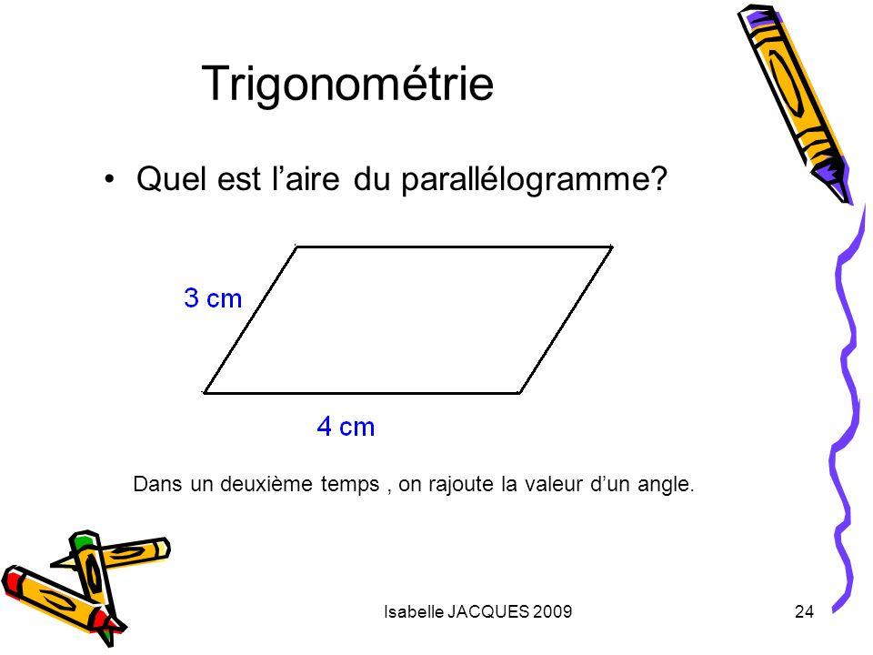 Trigonométrie Quel est l'aire du parallélogramme