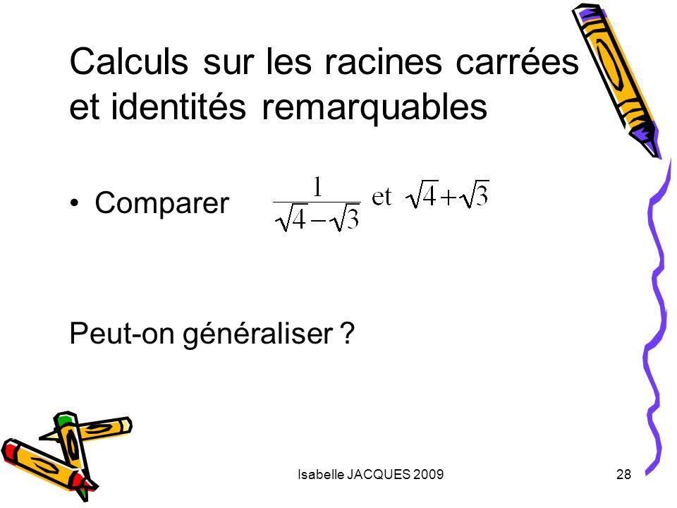 Calculs sur les racines carrées et identités remarquables