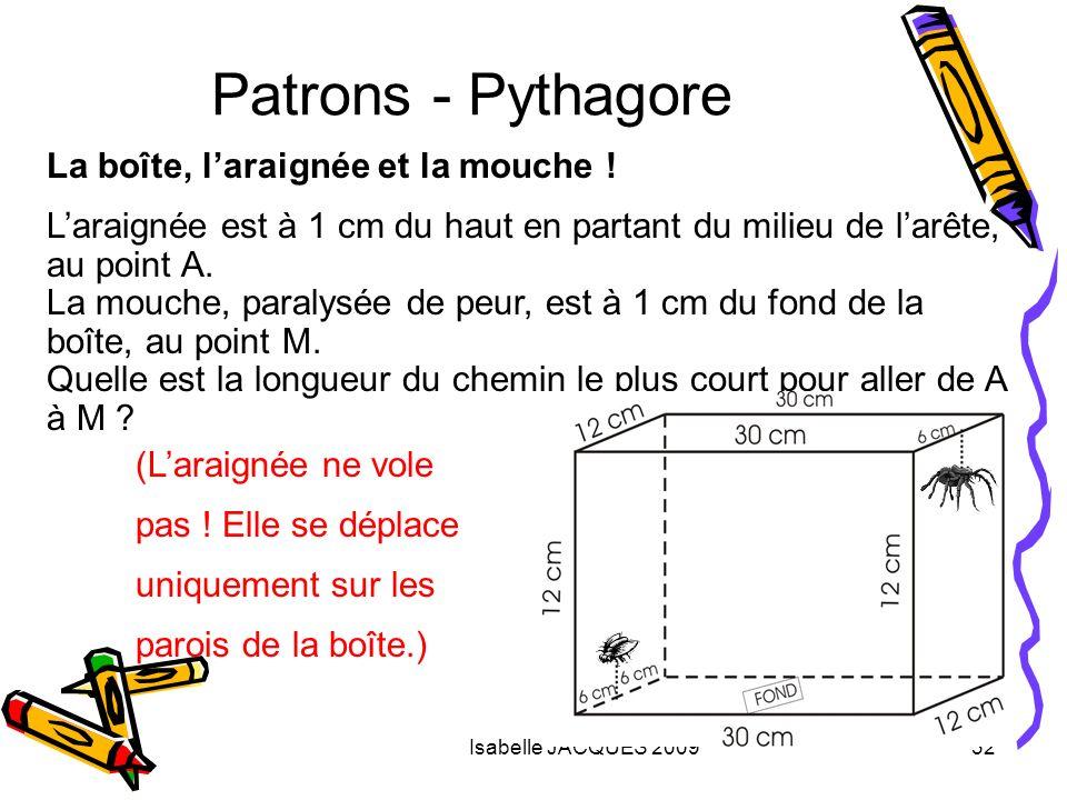Patrons - Pythagore La boîte, l'araignée et la mouche !