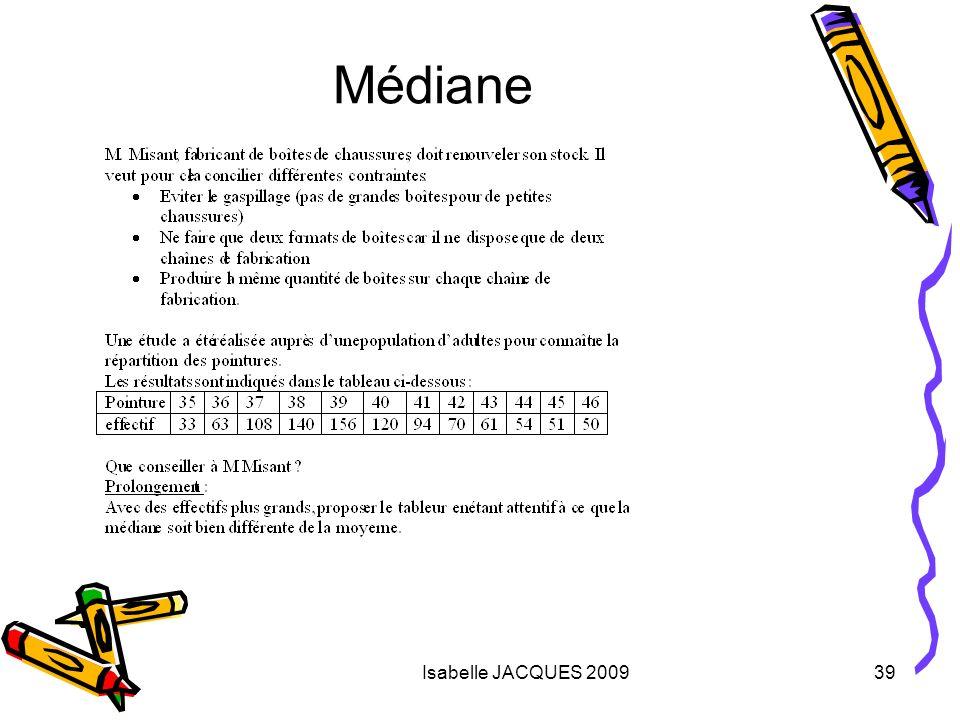 Médiane Isabelle JACQUES 2009