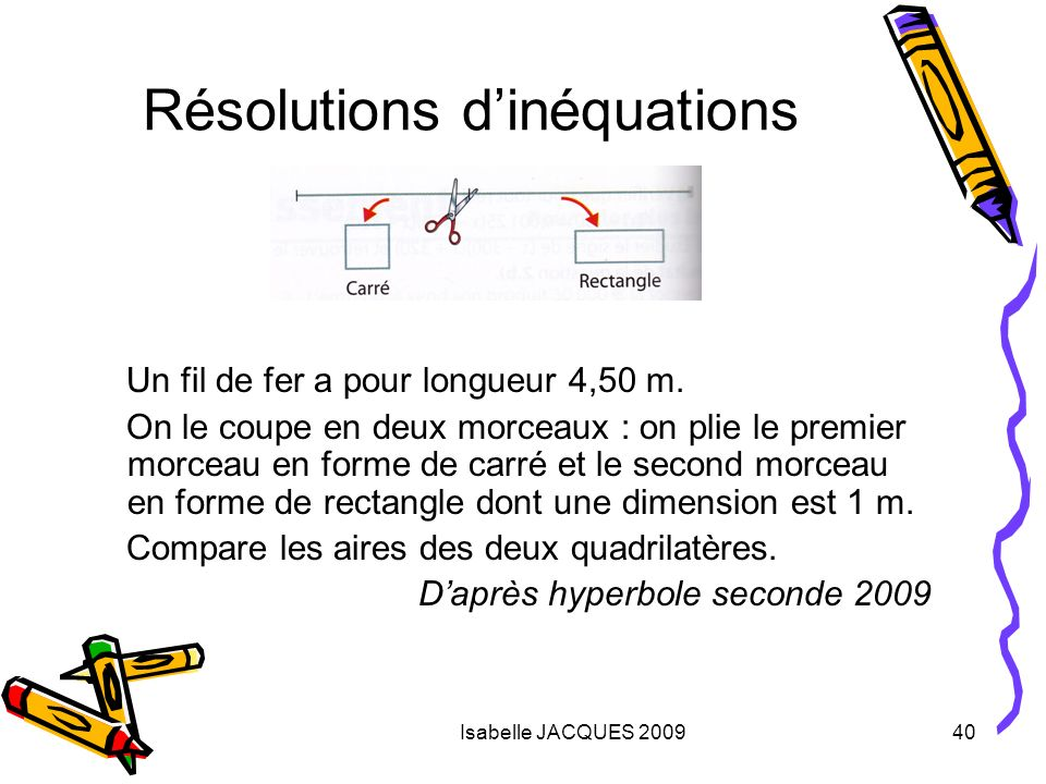 Résolutions d'inéquations