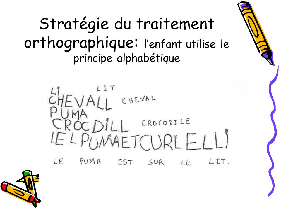 Stratégie du traitement orthographique: l'enfant utilise le principe alphabétique
