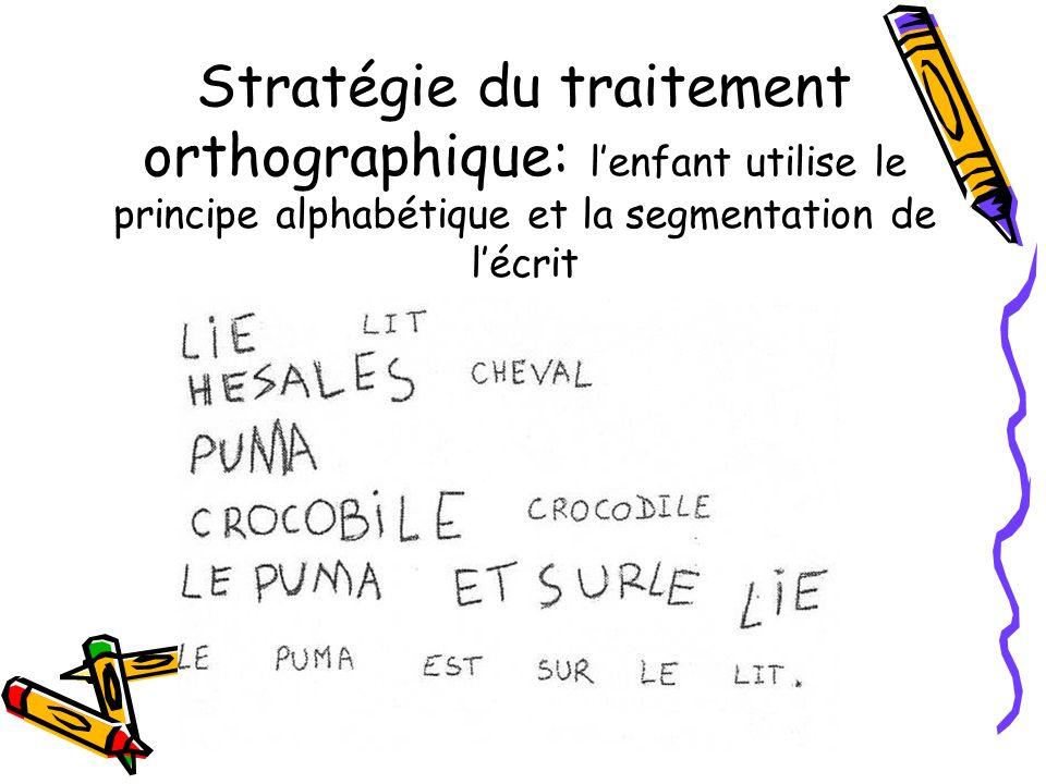 Stratégie du traitement orthographique: l'enfant utilise le principe alphabétique et la segmentation de l'écrit
