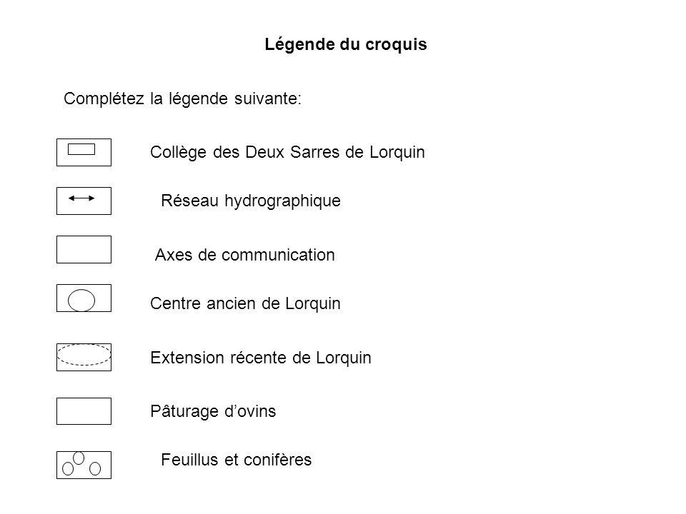 Légende du croquis Complétez la légende suivante: Collège des Deux Sarres de Lorquin. Réseau hydrographique.