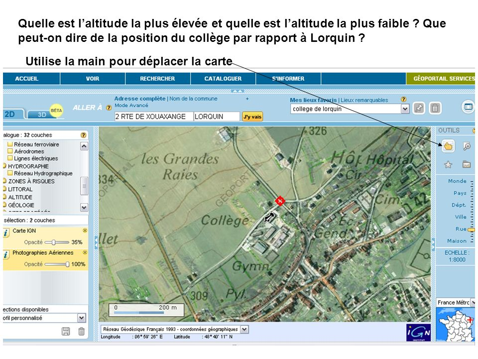 Quelle est l'altitude la plus élevée et quelle est l'altitude la plus faible Que peut-on dire de la position du collège par rapport à Lorquin