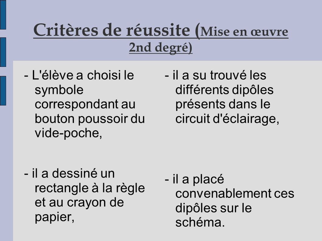 Critères de réussite (Mise en œuvre 2nd degré)