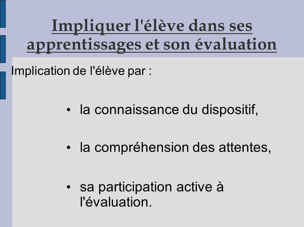 Impliquer l élève dans ses apprentissages et son évaluation
