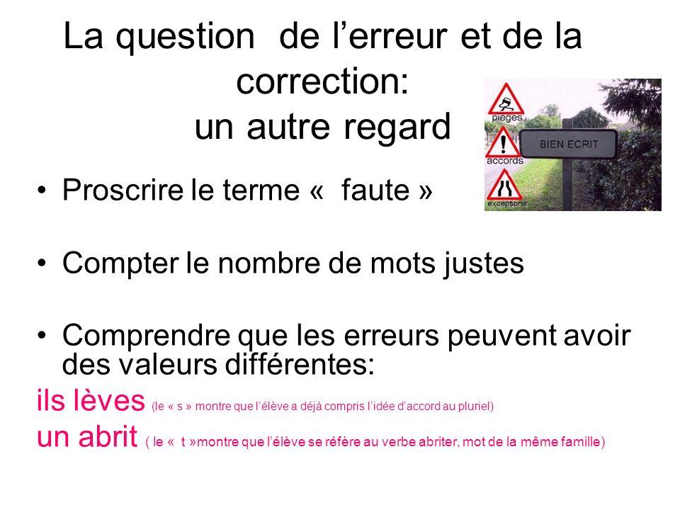 La question de l'erreur et de la correction: un autre regard