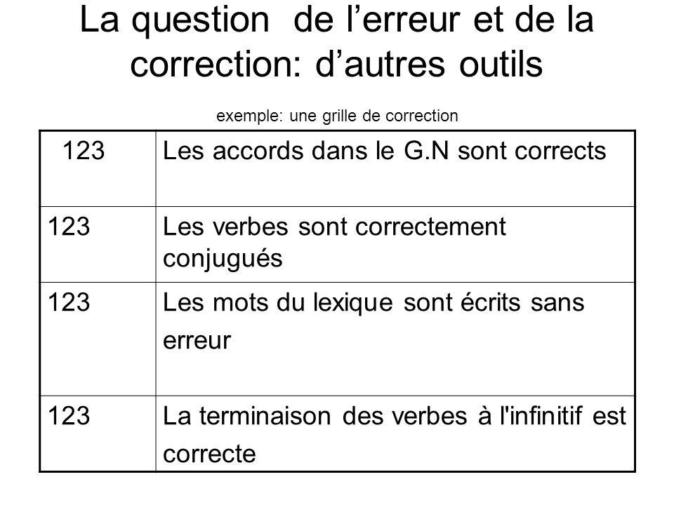 La question de l'erreur et de la correction: d'autres outils exemple: une grille de correction