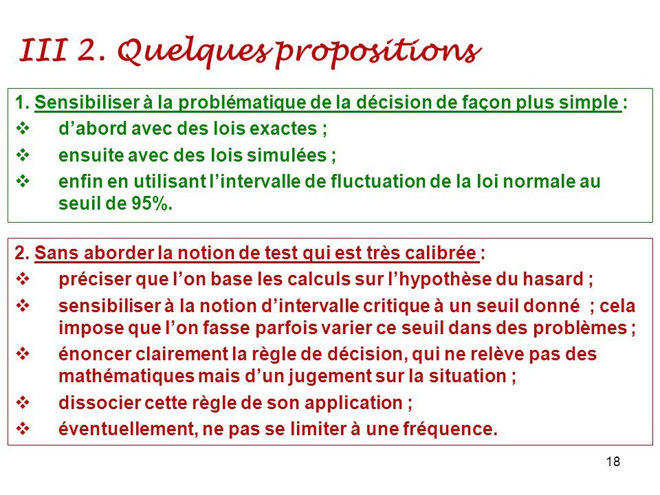 III 2. Quelques propositions