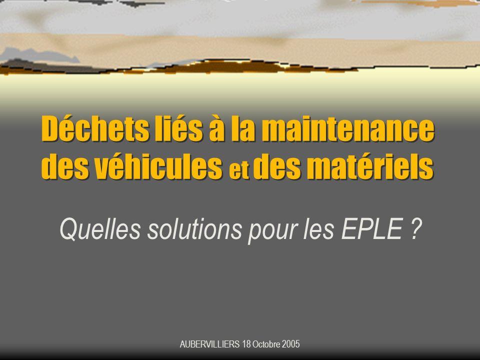Déchets liés à la maintenance des véhicules et des matériels