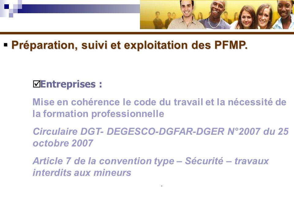 Préparation, suivi et exploitation des PFMP.