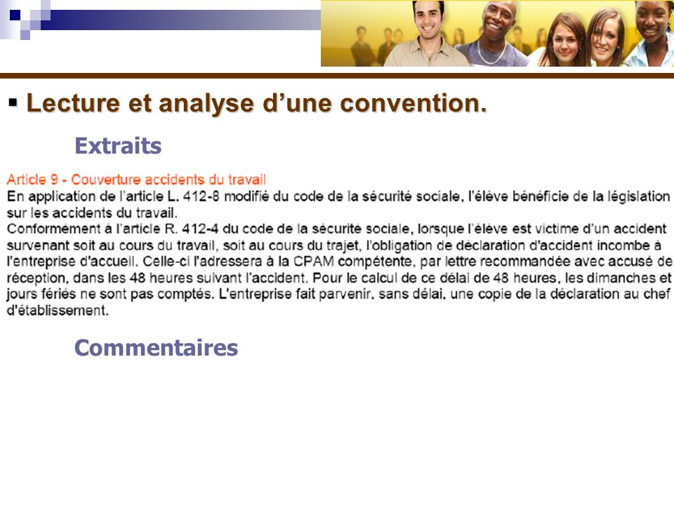 Lecture et analyse d'une convention.