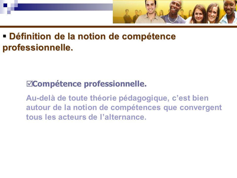 Définition de la notion de compétence professionnelle.