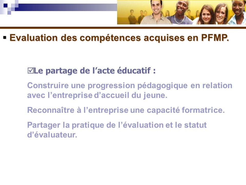 Evaluation des compétences acquises en PFMP.