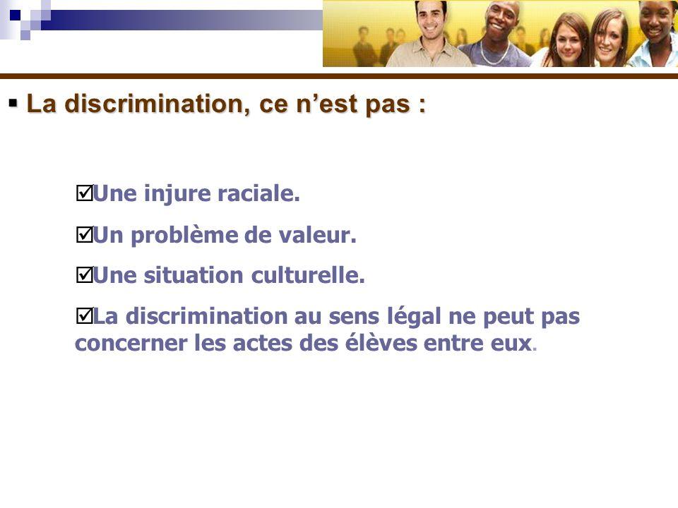 La discrimination, ce n'est pas :