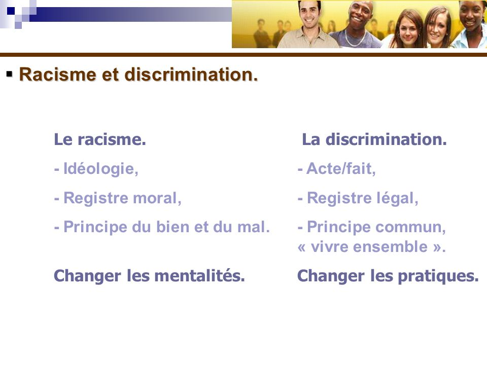 Racisme et discrimination.
