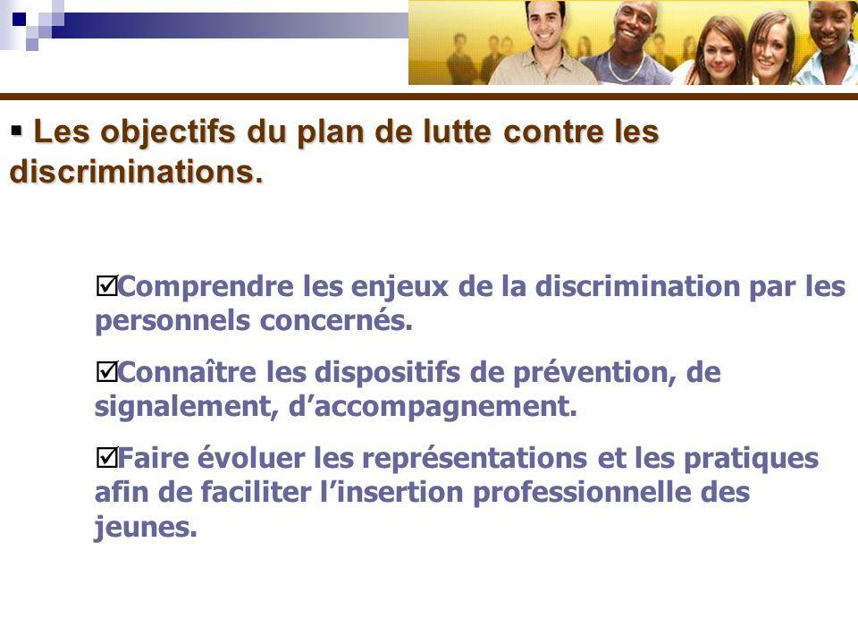 Les objectifs du plan de lutte contre les discriminations.