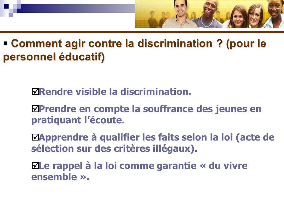 Comment agir contre la discrimination (pour le personnel éducatif)