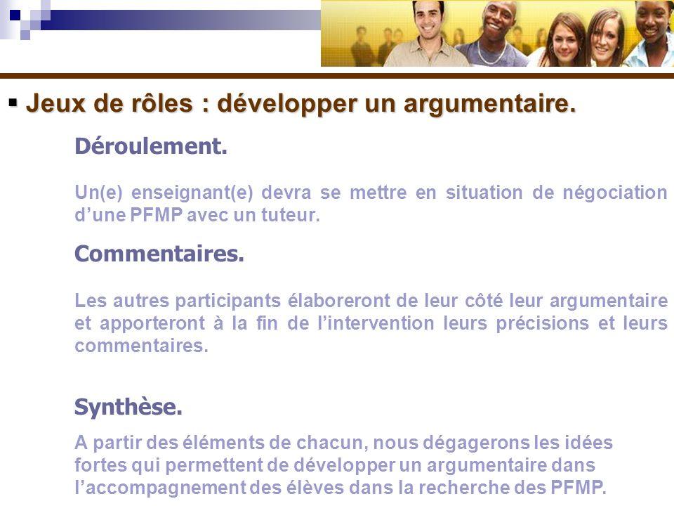 Jeux de rôles : développer un argumentaire.