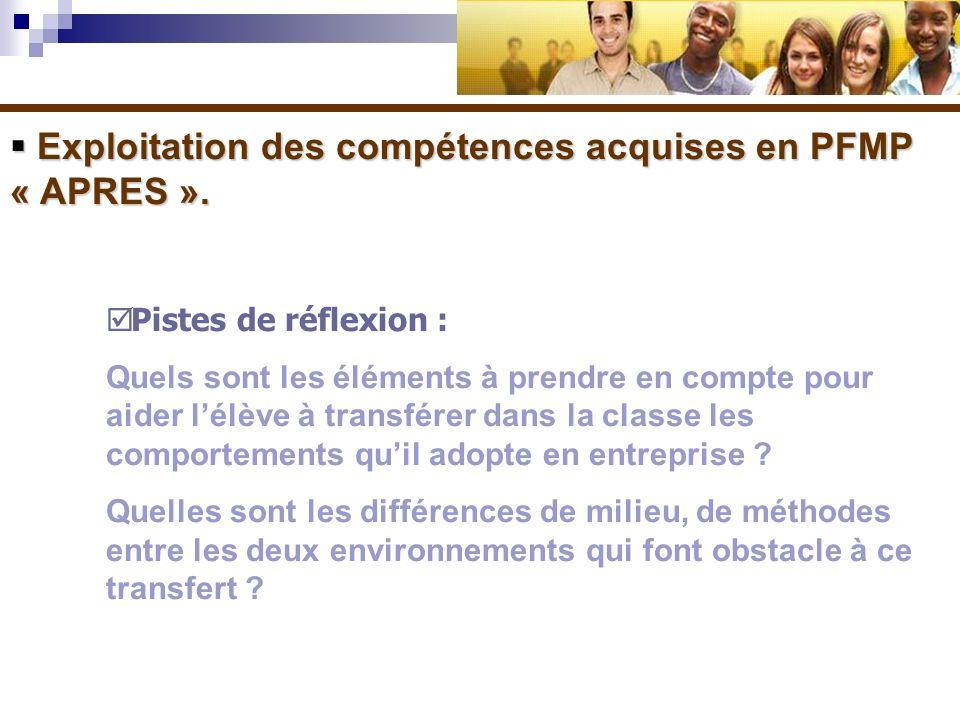 Exploitation des compétences acquises en PFMP « APRES ».