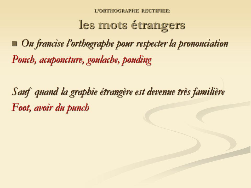 L'ORTHOGRAPHE RECTIFIEE: les mots étrangers