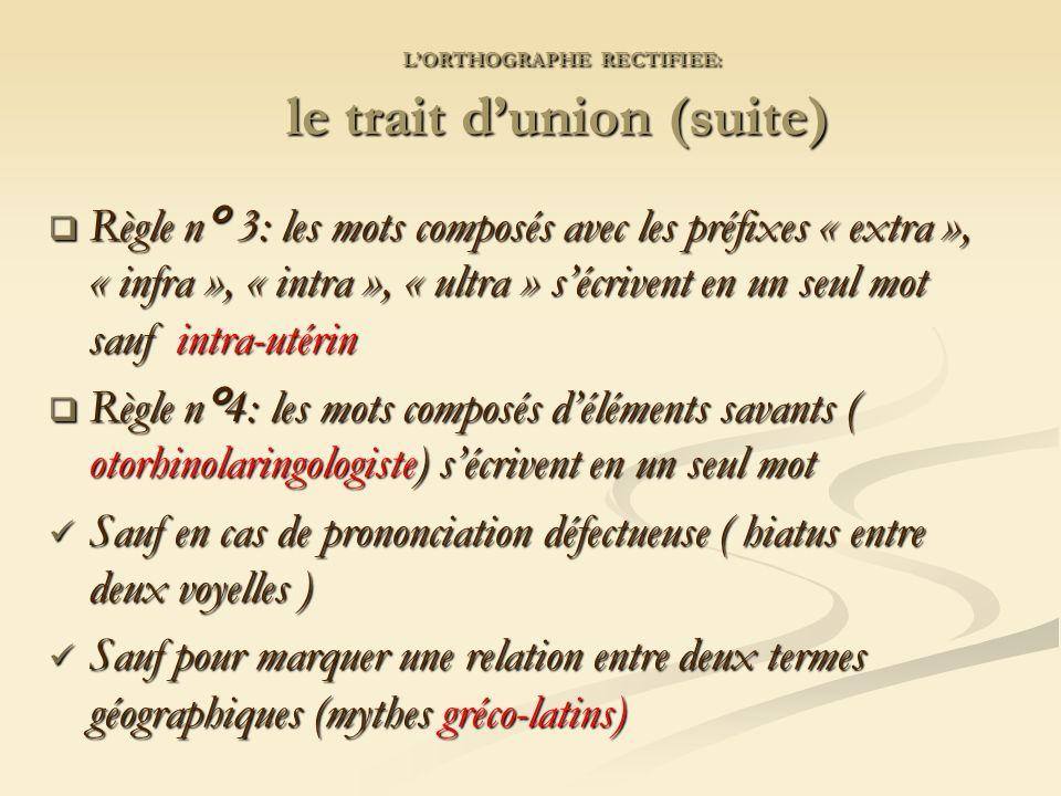 L'ORTHOGRAPHE RECTIFIEE: le trait d'union (suite)