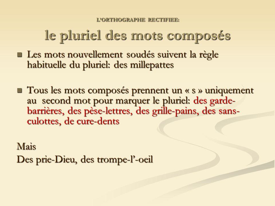 L'ORTHOGRAPHE RECTIFIEE: le pluriel des mots composés