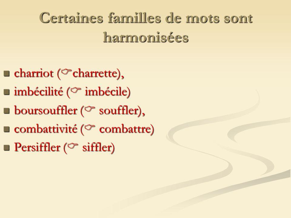 Certaines familles de mots sont harmonisées