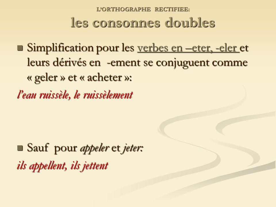 L'ORTHOGRAPHE RECTIFIEE: les consonnes doubles