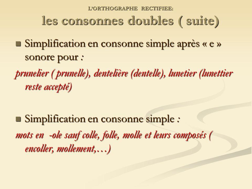 L'ORTHOGRAPHE RECTIFIEE: les consonnes doubles ( suite)